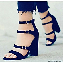 5a285eec418 Fashion Ladies Strap Block Heel Sandal-Black