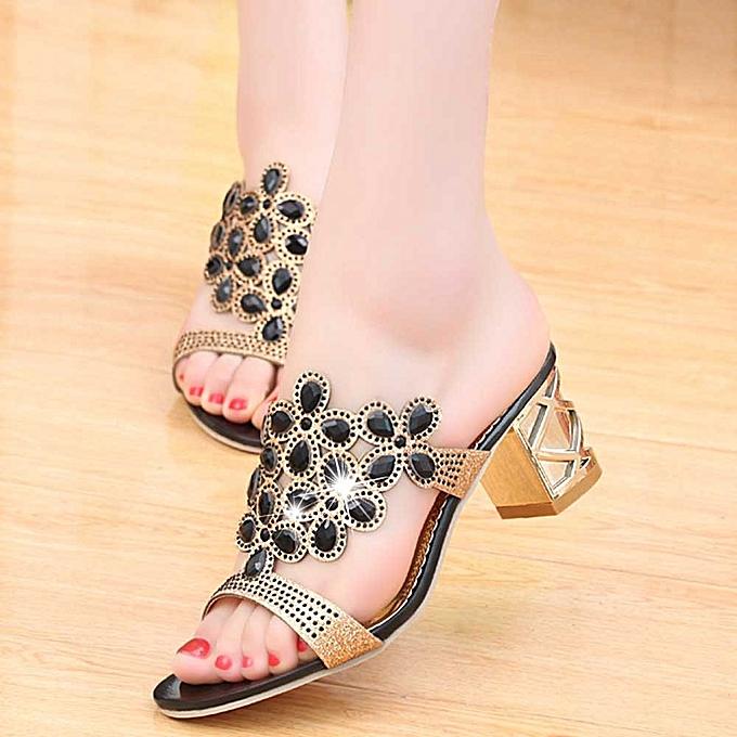9896f63df0c1e Women Summer Fashion Flip Flops High Heel Sandals Fat Girls Rhinestone Shoes  -Black