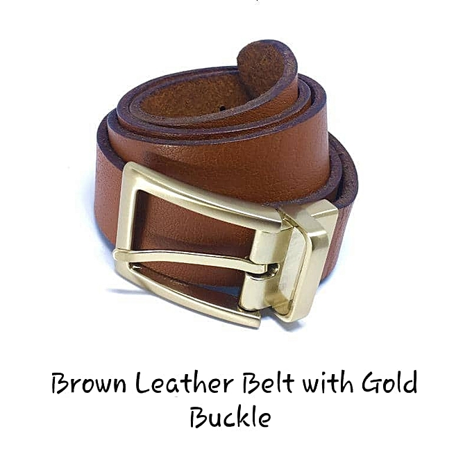 3fe0422986 Quality Brown Leather Belt With Gold Buckle - Small
