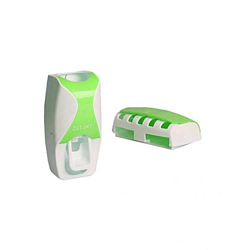 Toothbrush Holder & ToothPaste Dispenser -Green