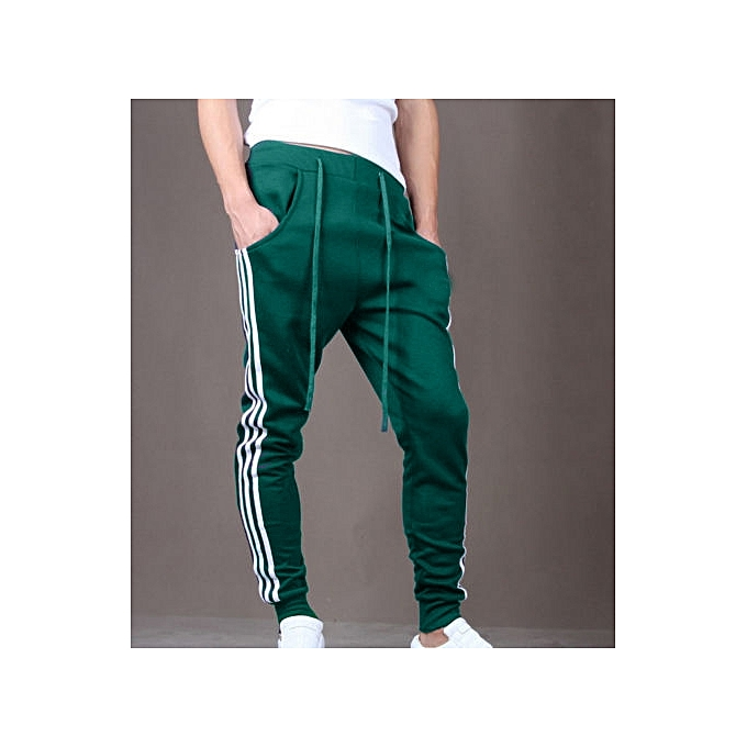 b9eb01c00b83 Mens Slim Fit Sport Pants Long Trousers Tracksuit Fitness Workout Joggers  Gym Sweatpants -green