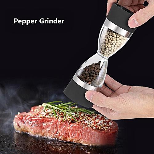 2 In 1 Double-ended Manual Kitchen Salt & Pepper Mill Grinder Adjustable Ceramic Rotor (Black)