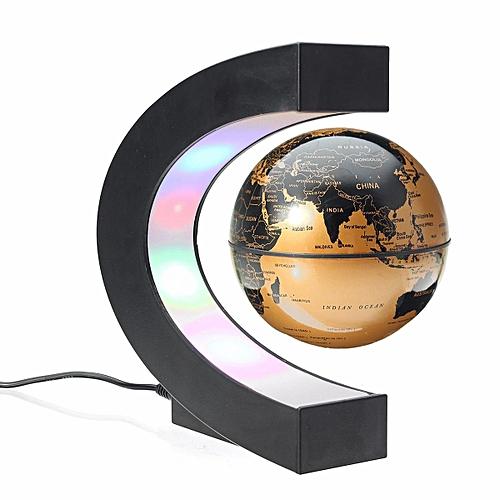 C Shape LED World Map Decoration Blue Magnetic Light Levitation Floating Globe Gold