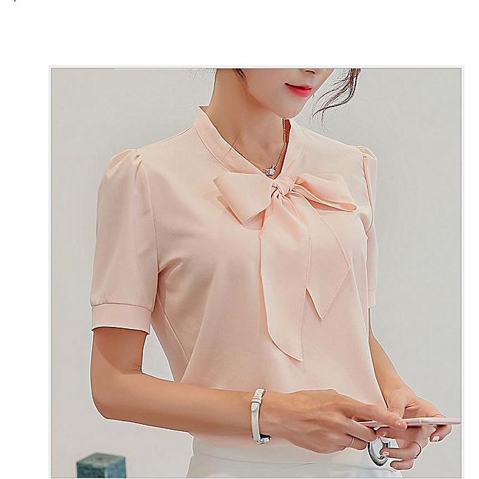 af0b88bc8ccfd2 Fashion Formal Plain Sexy Short Sleeve Chiffon Shirt With Bow- Blush ...