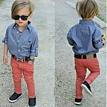 4f159a7fbee9 Children's Wear European And American Style Handsome Boy Soft Cowboy  Shirt And