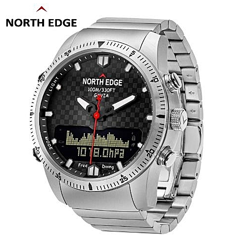 NORTH EDGE Men Dive Sports Digital Watch Mens Watches Military Army Luxury Full Steel Business Waterproof 100m Altimeter Compass-silver
