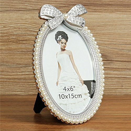 Photo Frame Artificial Crystal Pearl Oval