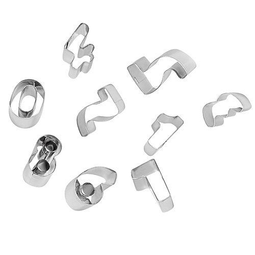 9Pcs/Set Digital Cookies Cutter Pastry Biscuit Cake Decorating Mold Tools -Silver