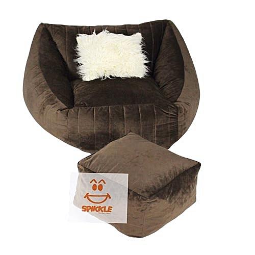 Bean Bag Sofa Chair & Leg Rest & 1 Pillow - Brown