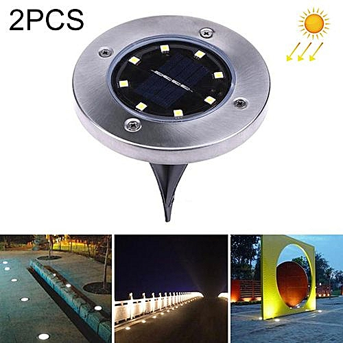 2 PCS 8 LEDs IP44 Waterproof Solar Powered Buried Light, SMD 5050 Warm White Light Under Ground Lamp Outdoor Path Way Garden Decking LED Light