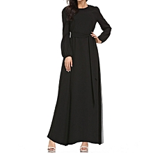 Equivalentt Muslim Maxi Dress Trumpet Sleeve Abaya Long Robe Gowns Tunic Belt for sale  Nigeria