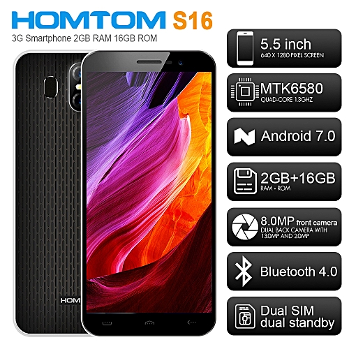 S16 5.5-Inch HD (2GB,16GB) Android 7.0 Nougat,13.0MP + 8.0MP 3G Smartphone-BLACK