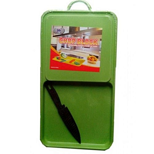 Chopping Board, Knife With Collector Basin