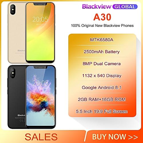 "Blackview A30 Smartphone MTK6580A Quad Core 5.5"" 19:9 All Screen 8MP Face ID 2500mAh 2GB 16GB"