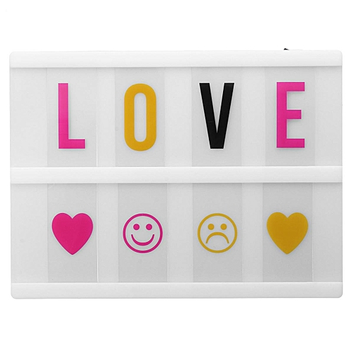 A5 USB Cinematic LED Light Up Letter Box Cinema House Wedding DIY Message Board (White)