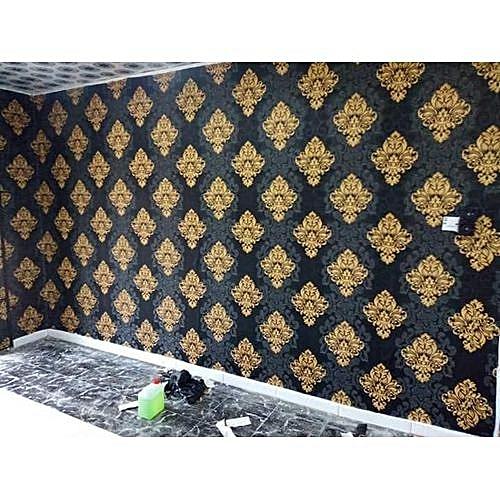 Black & Gold Damask Pattern Wallpaper