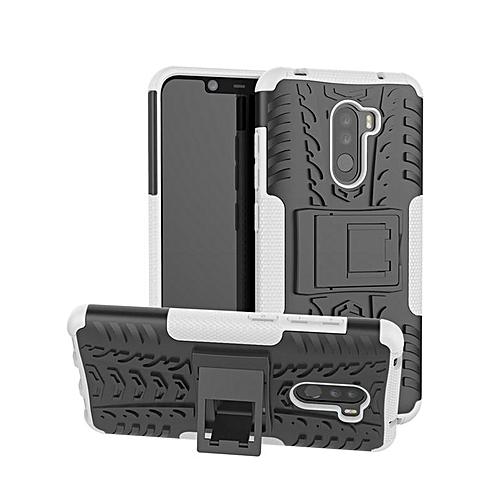 new concept 6232b 39103 For Xiaomi Mi Pocophone F1 / Poco F1 Rugged Hybrid Armor Heavy Duty Hybrid  TPU Stand Impact Plastic Case Hard Shock Proof Cover (White)