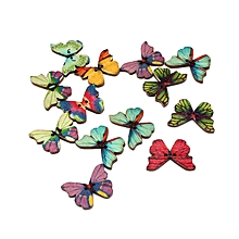 New Creative 50 PCS 2 Butterfly Shaped Hole Print DIY Sewing Button 28mm, used for sale  Nigeria