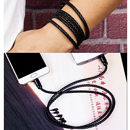 PU Leather Braided Bracelet Phone USB Data Cable Long Charging Cord Android Type-c Interface