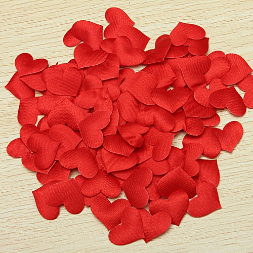 100pcs Padded Satin Heart Wedding Table Scatters Applique Craft Scrapbooking Decor Red 20mm