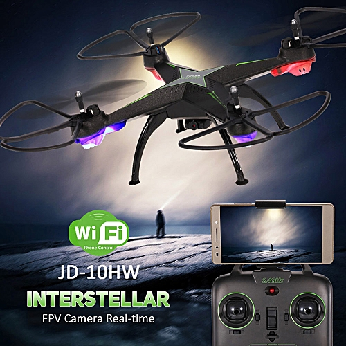 Tcetoctre JD-10HW Led Night Fly 2.4G 4CH 6-Axis 2MP Camera WIFI FPV Drone RC Quadcopter-Black