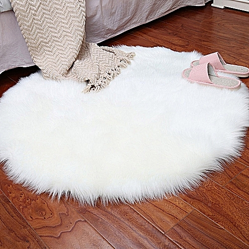 Soft Artificial Sheepskin Rug Chair Cover Artificial Wool Warm Hairy Carpet Whit