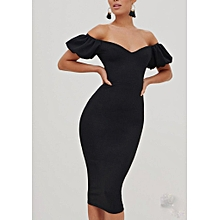 0116475a31 Noelle Black Off Shoulder Short Sleeve Pencil Dress