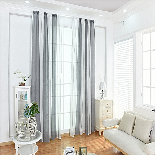 Honana 100x200cm Cotton Linen Stripe Curtains Tulle Romantic Wedding Decor Curtain For Living Room