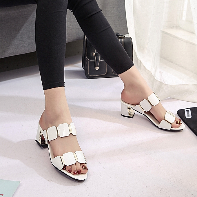 2e10adc7642f ... Bliccol High Heel Shoes Women Fish Mouth Slipper High Heels Sandals  Antiskid Toes Party Shoes Flip