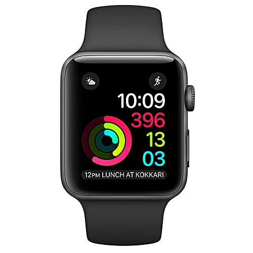 84f3bc3945ad Apple Watch Series 2 42mm Space Gray Aluminum Case Black Sport Band- Black