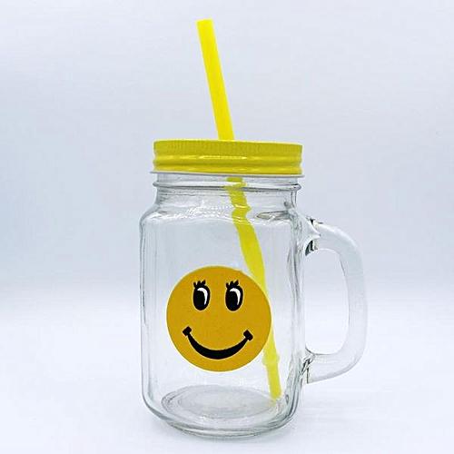 4 Piece Glass Mason Jar With Straw And Handle