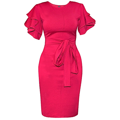Double Flared Sleeve Bodycon With Belt - Fiscal Pink