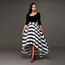 b77aca050fd Black Striped O-Neck Half Sleeve Two Piece Suit Asymmetrical Women Dresses  Vestido De Festa