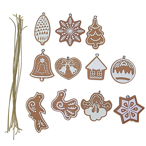 Christmas Tree Ornaments Cartoon Animal Snowflake Xmas Tree Hanging Polymer Clay Christmas Pendants Decorations,Set Of 11pcs,Light Brown