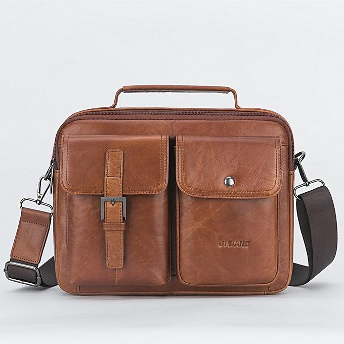 9788413aca Mens Leather Messenger Bag Retro Laptop Bag Business Briefcase Shoulder Bag