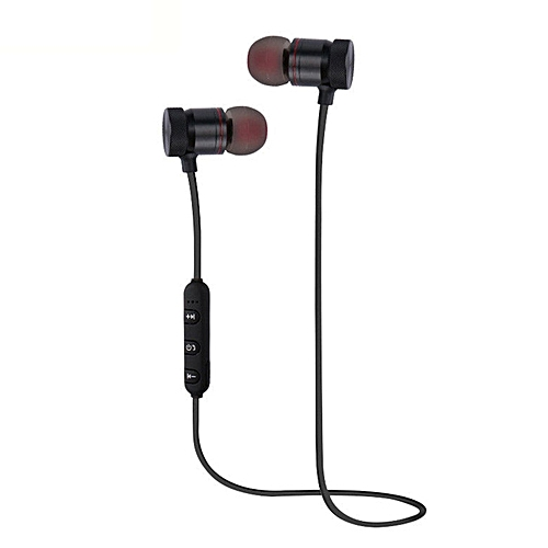 GB Magnetic Wireless Bluetooth Sports Earphones Metal Earbuds Universal For Phone Black