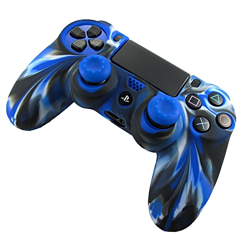 1PC Silicone Case Cover +2PC Rocker Cap For Playstation PS4 Controller BU