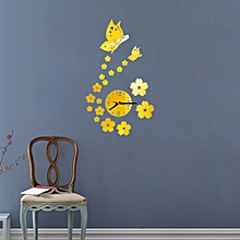 Meibaol Store Butterfly Removable Diy Acrylic 3D Mirror Wall Sticker Decorative Clock-Gold for sale  Nigeria