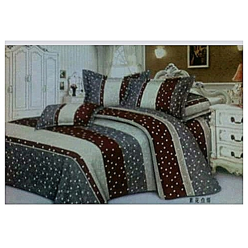 Brown Polka-dot Bed Spread (4 Pillow Cases)