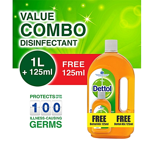 Antiseptic Liquid Disinfectant 1 Litre + FREE 125ml Bottle