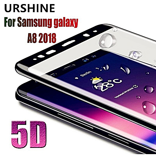 Tempered Glass For Samsung Galaxy A8 Plus 2018 Screen Protector 3D Black  Curved Edge Full Coverage Glass Film Guard For Samsung Galaxy A8 Plus 2018