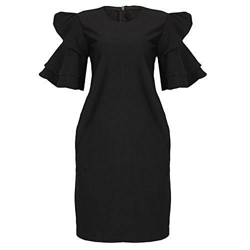 Triple Threat Flair Sleeve Midi Dress - Black