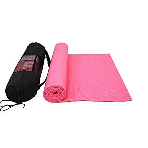Yoga Mat With Carrier Bag Moisture Resistance - Pink