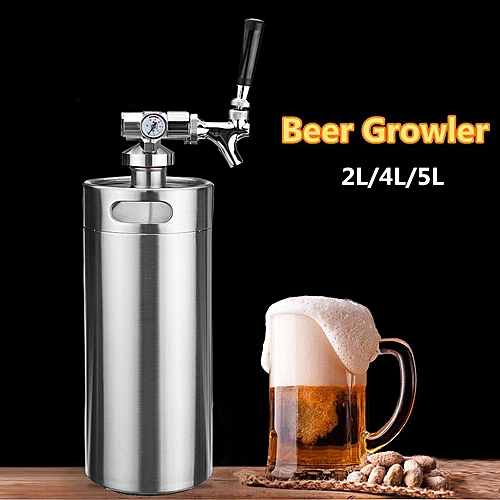 4L Stainless Steel 304 Beer Mini Keg Homebrew Keg Mini Wine Brewing Bottle