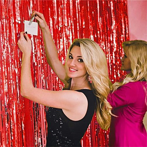 Shimmer Door Curtain & Fringe Garlands Foil Curtains -Red