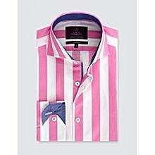 13e8091539 Men's Curtis Pink & White Stripe Slim Fit Shirt -High