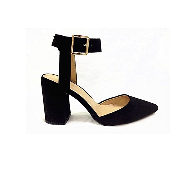 690ce37f658 April 30th Vivienne Ankle Strap Block Heel Pump - Black