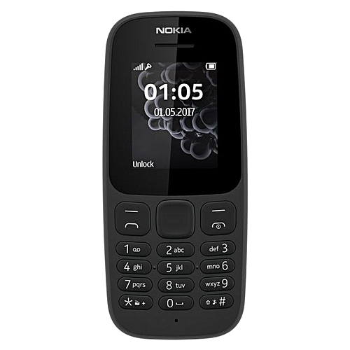 "105 SS (2017) - Single Sim, 1.8"" Display Basic Phone - Black"