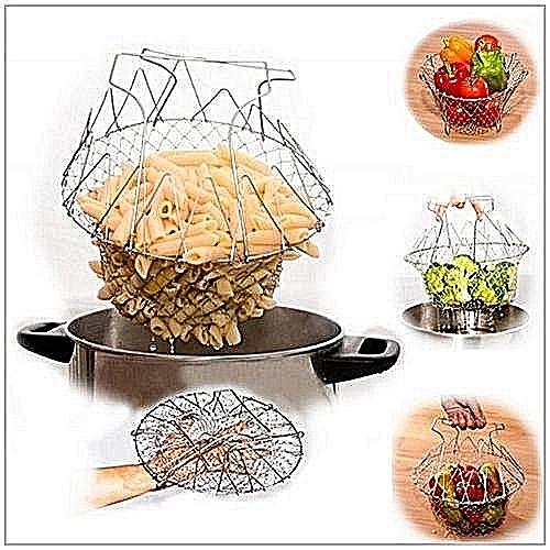 Chef Basket/ Cooking Basket Colander Fry Fold Flat Strainer Net Kitchen Cooking Tool