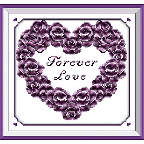 Cross Stitch Stamped Kits Pre-Printed Cross-Stitching Patterns For Beginner Forever Love 39*36cm H029(2)